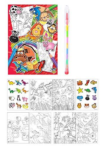 KP KINPARTY ® - 6 Mini Libros para Colorear Y Pegatinas - 6 LAPICES Regalos de cumpleaños, Actividades Creativas, Relleno de piñatas, Regalos para niñas y niños