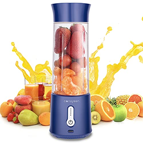 Mini blender Portable blenders - Outdoor personal blender with handle cover - Large capacity 17.6 oz 4000 mAh with USB charging six 3D blades perfect for blending smoothies&juices&milkshakes(blue)