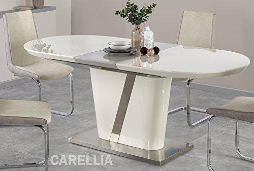 Table A Manger Design Extensible 160÷200 CM x P : 90 CM x H : 76 CM - Couleur : Gris/Creme