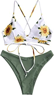 Women's Back Lace-up Swimsuit Flower Print Cheeky Thong Bikini
