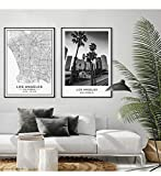 FA LEMON Los Angeles City Map Moderne Leinwand Malerei
