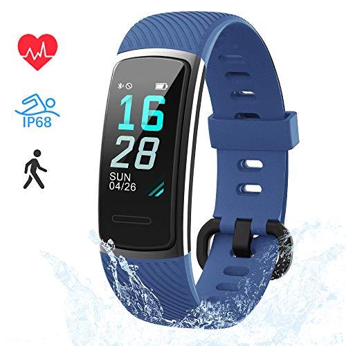 LIFEBEE Fitness Armband, Fitness Tracker mit Pulsmesser Smartwatch Wasserdicht IP68 Fitness Uhr sportuhr Aktivitätstracker, Damen Herren 0.96 Zoll Schrittzähler Smart Watch Uhr für Android iOS (Blau)
