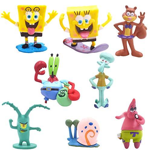 SZWL Mini Juego de Figuras, Caricatura Cake Topper, Fiesta de Cumpleaños DIY Decoración Suministros, Niños Mini Juguetes Baby Shower Fiesta de cumpleaños Pastel Decoración Suministros 8 Piezas
