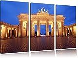 Hell erleuchtetes Brandenburger Tor 3-Teiler Leinwandbild