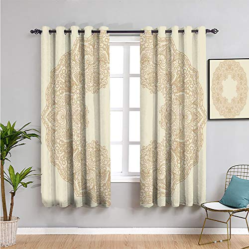 beige Light Blocking Curtains for Living Room, Curtains 84 inch length old fashion embriodery style floral circle victorian feminine sophisticated chic boho artprint Bring beauty beige W52 x L84 Inch