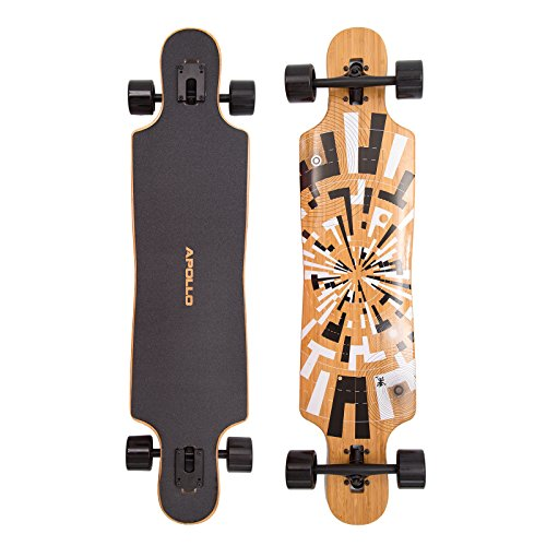 Apollo Longboard Soul Bamboo, Flex 1, 40inch Twin-Tip Drop-Through Freeride Cruiser Board