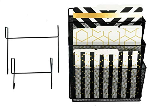Office Cubicle Accessories Black Wire Mesh Hanging Wall File Organizer – 2 Hooks – Doors and Cubicle Hangers, Screws for Wall Mount – Cubicle Organizer