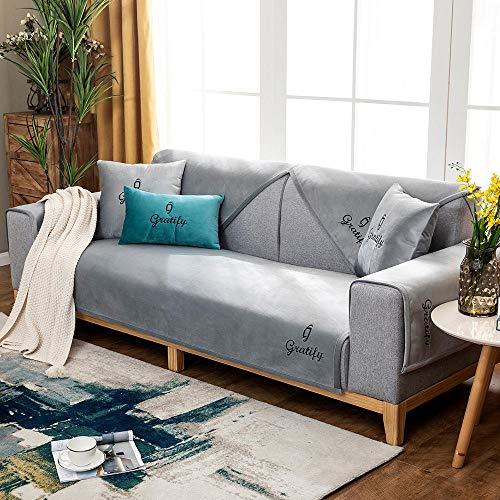 Suuki Funda de sofá de Felpa para Sala de Estudio, Funda de cojín de sofá Antideslizante de Tela/Cuero, Manta de sofá Fina súper Suave, Fundas Protectoras de sofá-Gris_Los 90 * 210cm