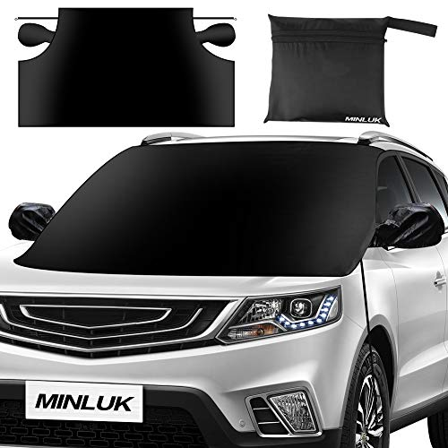 """Car Windshield Snow Cover, Oversized Waterproof Car Snow Ice Removal Cover Magnetic Wiper Frost Guard Protector with Elastic Hooks and Side Mirror Covers for Most Cars/SUVs - No Scratches (85"""" x 61"""")"""
