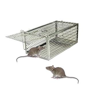 skycabin 1-Door ratón Hierro Jaula Trampa, Humano, Animal Catcher para ratón, Ratas, Hamster, Topo, Mustela, Gopher y más pequeños roedores Jaula Trampa no Control de plagas