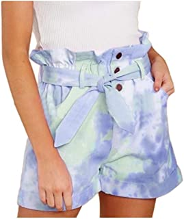 Zimaes Women's Short Pant High Waist Tie Dye Print Summer Pockets Shorts