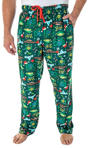National Lampoon's Christmas Vacation Men's Allover Print Lounge Sleep Pajama Pants (Medium) Green