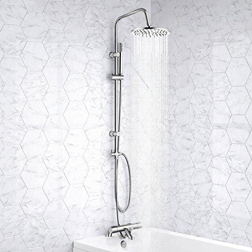 Mitigeur thermostatique bain/douche et colonne de douche ronde rigide 3 voies Finition chromée moderne