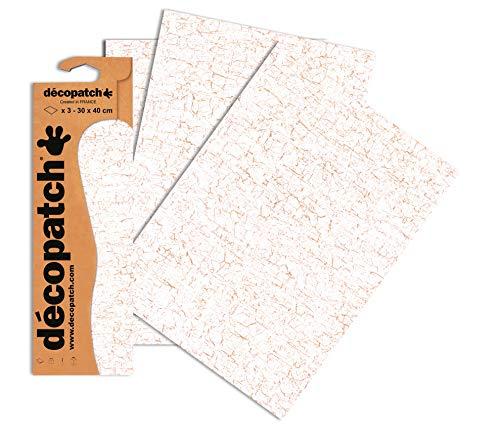Decopatch Papier No. 444 (weiß gold, 395 x 298 mm) 3er Pack