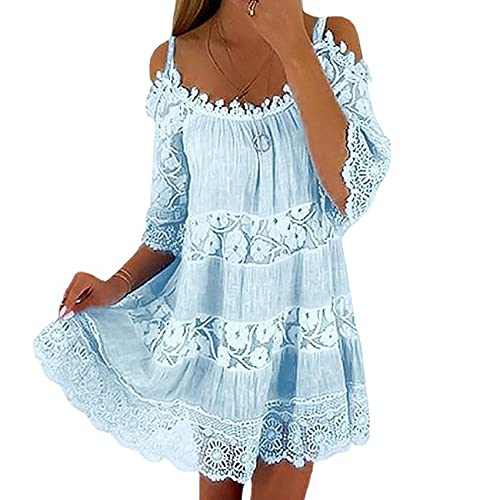 Costura Sling Vestido De Cintura De Flores Vestido Suelto Informal De Color SóLido