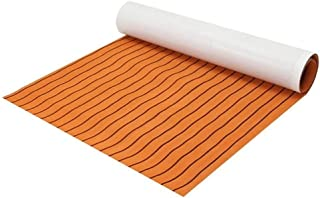 DB Decorative Materials, Boat Decking Pad 1200x2000x6mm EVA Foam Sheet Orange with Black Line Teak Synthetic