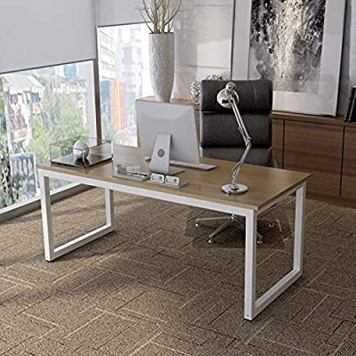 """Writing Computer Desk for Home Office Modern Simple Industrial Style Laptop Table Notebook Desk 43"""" Study Desk White Metal Frame"""