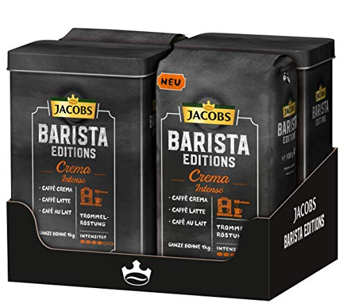 Jacobs Barista Editions Crema Intense Kaffee Ganze Bohne, mit 2 Dosen gratis, 4er Pack (4 x 1000 g)