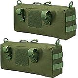 JETEDC(ジェットイデイシイ)molle バッグ サバゲーバッグ バックパック サバゲー 釣り 小物入り 通勤 2個入り (ブラック) (緑)