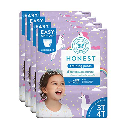 The Honest Company Toddler Training Pants, Unicorns, 3T/4T, 92 Count
