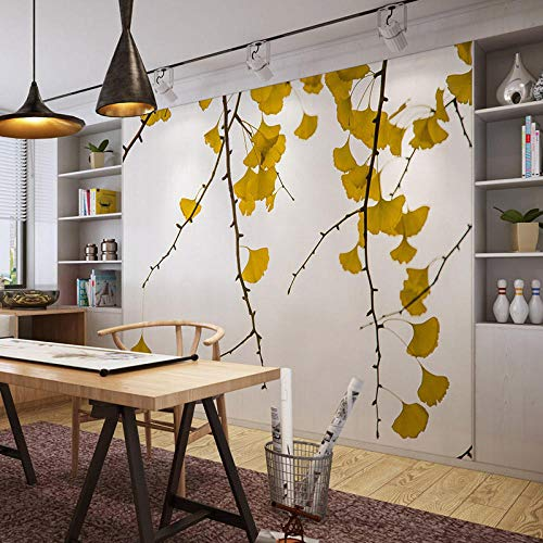 Papel Pintado 3D Fotomurales Hojas amarillas Cuarto Oficina Salón Sofá TV Fondo papel tapiz no tejido Moderna decoración del hogar impermeable,Murales,150x105 cm - 3 tiras