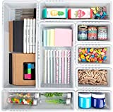 Mebbay 10 Pack Expandable Drawer Organizer Grey Plastic Makeup Junk Drawer Organizer for Bathroom Office Kitchen 6-18.2'L with 40 pcs Non-Slip Pads