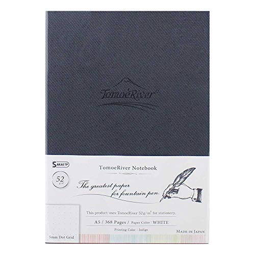Tomoe River FP Notebook, 5.85' x 8.27', 368 pages (184-Sheet), Hard Cover, Dot Grid, White (TMR-A5N5DW)