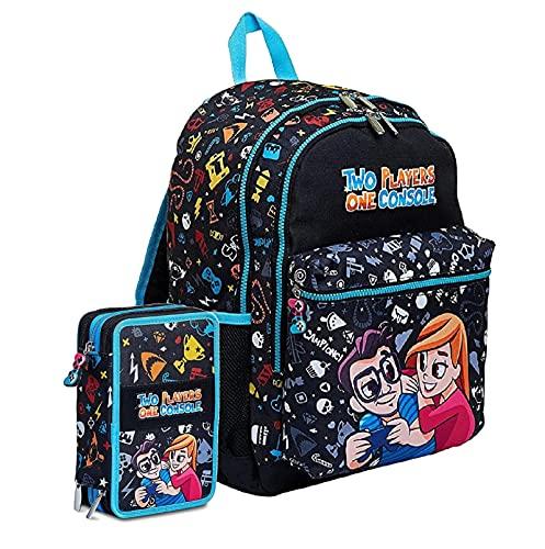 Zaino Schoolpack Seven Two Players One Console Nero + Astuccio Completo Triplo