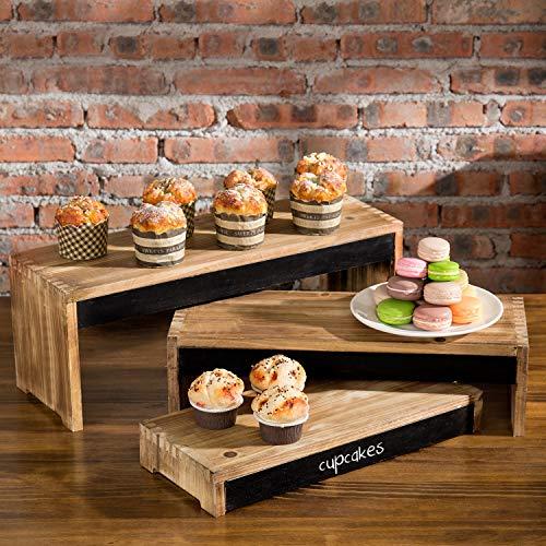 MyGift 3-Tier Rustic Burnt Dark Brown Wood Cake/Dessert Display Riser Stands with Chalkboard Panels