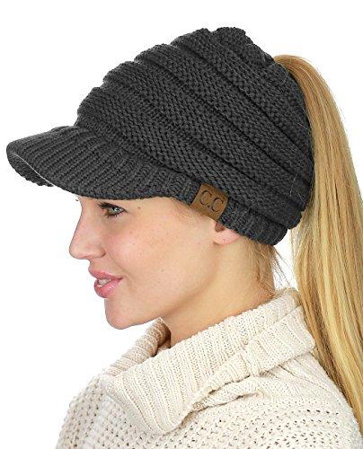 C.C BeanieTail Warm Knit Messy High Bun Ponytail Visor Beanie Cap, Dark Melange Gray