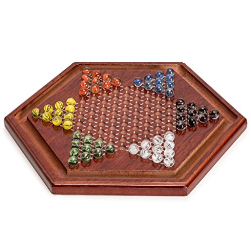 Yellow Mountain Imports Wooden Chinese Checkers Board Game Set - 13.6 Inches - with Colorful Glass Marbles