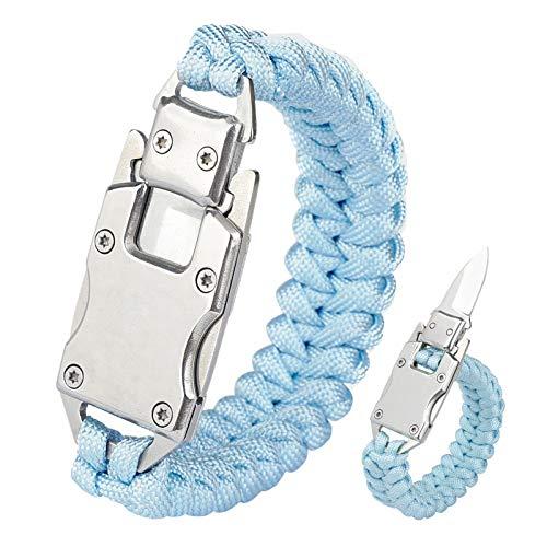 WEREWOLVES Paracord Knife Bracelet/Survival Knife Cord Bracelets, Tactical EDC Paracord Bracelet, Emergency Survival Gear for Hiking Traveling Camping, Paracord Bracelet for Men & Women (Light Blue)