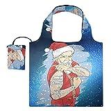 Bolsas reutilizables de la compra – Santa Tattoo Galaxy plegable bolsa grande de tela para reciclar rasgos con bolsa