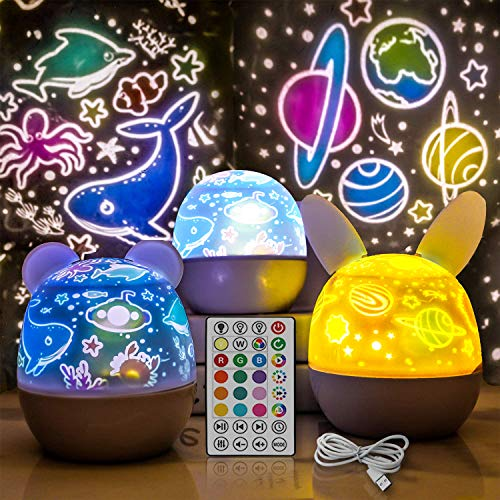 RENOOK Rechargeable Star Projector Night Light for Kids with Timer and Remote Control, 3 Appearances 5 LEDs 20 Colors, Rotation Lamp, Ocean Universe Dinosaur Birthday 7 Films, Glow in The Dark Stars