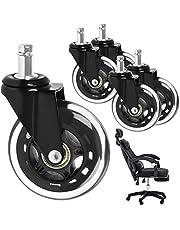 Caster Weels Bureaustoelwielen, 5-delige set wielen voor harde vloeren, draaistoelwielen, pen 11 mm x 22 mm, rustige zwenkwielen, voor hardhouten vloeren, tapijt, laminaat, tegels, zwart, diameter 75 mm
