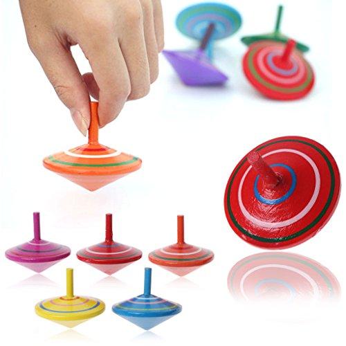 ECMQS Rotierende 1 Stück Mehrfarben Holzkreisel Kinder Kreisel Spielzeug Traditionelle Baby Spielzeug