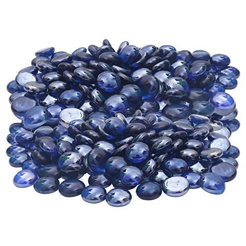 BELLE VOUS Pebbles (400 pcs) - Blue Flat Round Decorative Marbles (2 cm) - Glass Gems for Vase Fillers, Party Table Scatter, Aquarium Decor, Wedding Decoration, Gifts, DIY and Craft Works