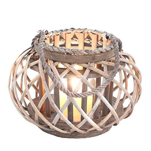Homeshop Rattan Windlicht mit Glaseinsatz Laterne Natur Grau/Braun