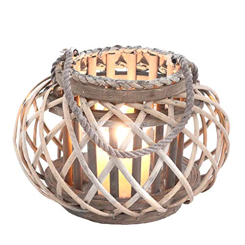 Homeshop Rattan Windlicht mit Glaseinsatz Laterne Natur Grau/Braun