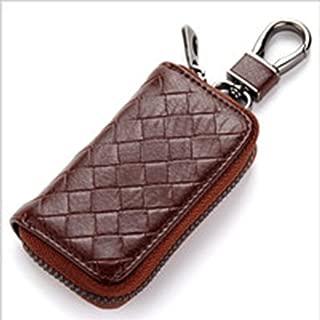 Genuine Leather Zipper Coin Pocket Purse Car Key Case Holder Keychain Wallet (Color : Silver)