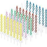 60 Piezas de Velas de Tarta a Rayas de Espiral Velas de Cumpleaños para Decoración de Pastel de Fiesta de Cumpleaños Boda, 6 Colores