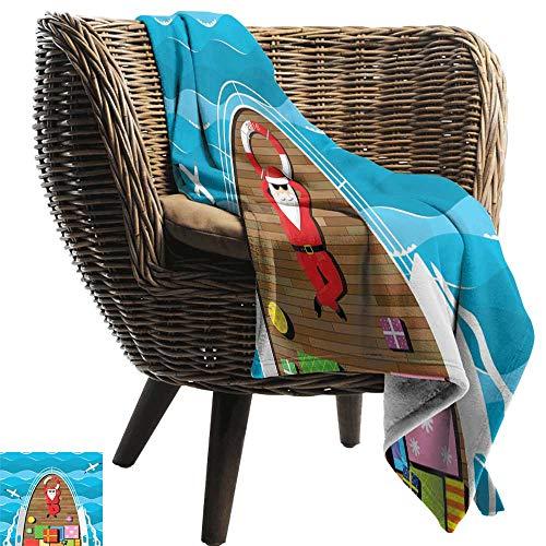 ZSUO Faux Fur gooien deken Kerstman, Vader Kerstmis en Rendier glimlachen achter een feestelijke dennenboom in rode ballen frame, Multi kleuren Gezellige en duurzame Fabric-Machine Wasbaar