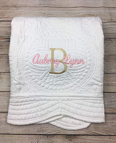Personalized Baby Quilt Blankets Monogrammed Blankets for Kids baby blankets for girls embroidered baby gifts soft for toddler girl or boy Crib size