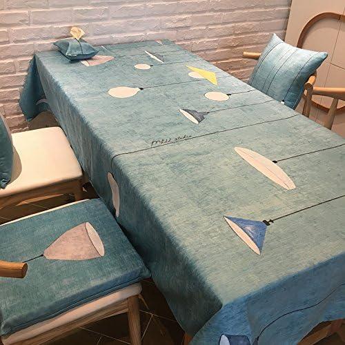 BlauLSS Velours Blau Weiß Tischdecke Couchtisch Tuch Nordic einfache Moderne Tischdecke, Blau, 100  140 cm