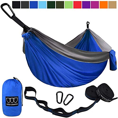 Gold Armour Camping Hammock - USA Brand Single Parachute Hammock (2 Tree Straps 32 Loops/20 ft Included) Lightweight Nylon Portable Adult Kids Best Accessories Gear (Blue/Gray)