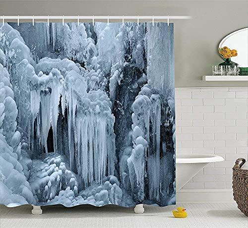 Cascada congelada en Invierno Los carámbanos en Las Rocas Tienen un patrón de Nieve El baño está Equipado con una Cortina de Ducha de Tela de poliéster Impermeable
