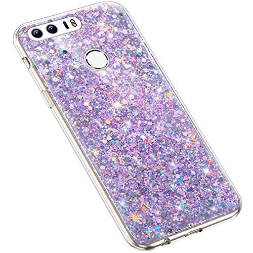 Uposao Huawei Honor 8 Coque Glitter de, Bling Gliter Strass Paillettes Coque Transparent Cristal Scintilla Silicone TPU Souple Housse Etui de Protection Coque pour Huawei Honor 8,Violet
