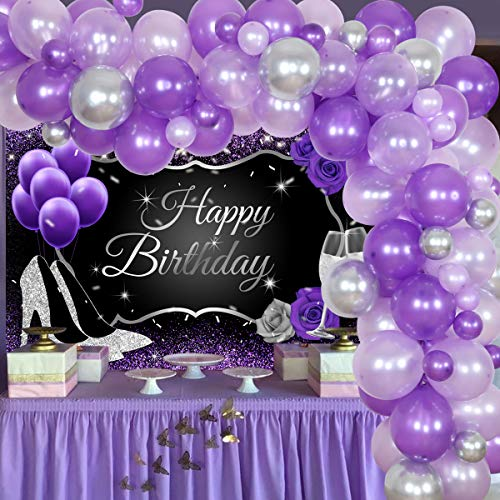 Purple and Silver Party Decorations for Women Adults Happy Birthday Backdrop Balloon Garland Kit, Violet Lavender 30th 40th 50th 60th Birthday Decorations 73Pcs