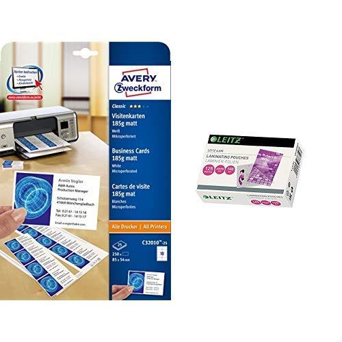 AVERY Zweckform C32010-25 Classic Visitenkarten (250 Stück, 85 x 54 mm, beidseitig bedruckbar, matt, 25 Blatt) & Leitz Heißlaminierfolien, Glänzend, transparent, 60 x 90 mm Folienstärke 125 mic