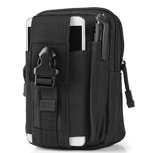 Sportlove Taktische Hüfttasche, Militär Kompakt MOLLE EDC Tasche Gürteltasche Beutel Taille Taschen für Gadget-Dienstprogramm Handy Camping Wandern und Reisen- Schwarz